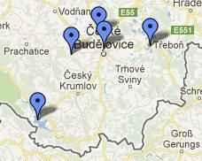 Surroundings Cesky Krumlov map